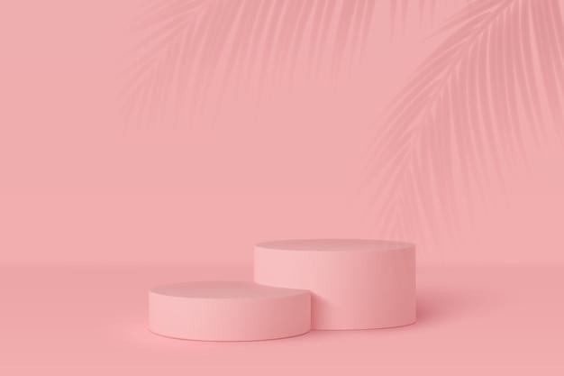 3d scena podium z cieniem liści palmowych. minimalne tło w kolorze różowym lub koralowym.