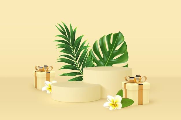 3d scena podium ze spadającymi pudełkami na prezenty i tropikalnymi liśćmi.