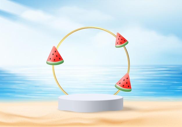 3d scena wyświetlania produktu na podium z arbuzem. biały wyświetlacz podium na plaży w morzu