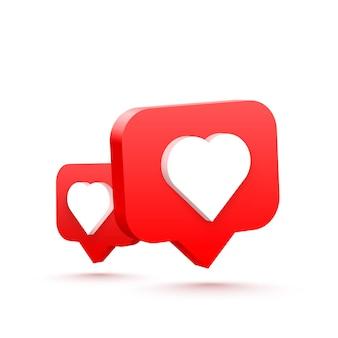 3d serce jak sieć społecznościowa. białe tło. ilustracja wektorowa