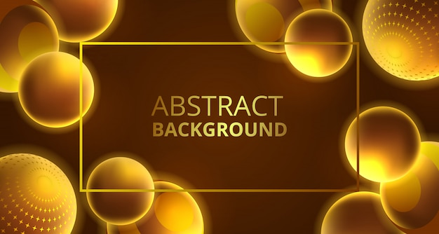 3d sfery dekoraci abstrakta złoty jarzeniowy tło
