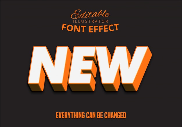 3d silny pogrubiony pomarańczowy tekst efekt