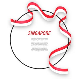 3d singapur z flagą narodową.