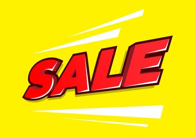 3d słowo sprzedaż czerwony samodzielnie na żółtym tle.