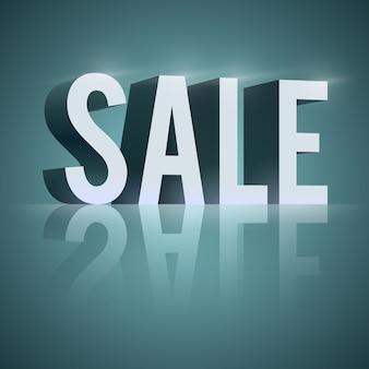 3d słowo sprzedaż z odbiciem i efektami świetlnymi na białym tle