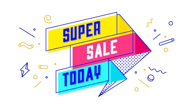 3d sprzedaż banner z tekstem super sale today
