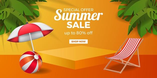 3d stojak na cokole z kostką na cokole ze składanym parasolem na krzesło i piłką i tropikalnymi liśćmi