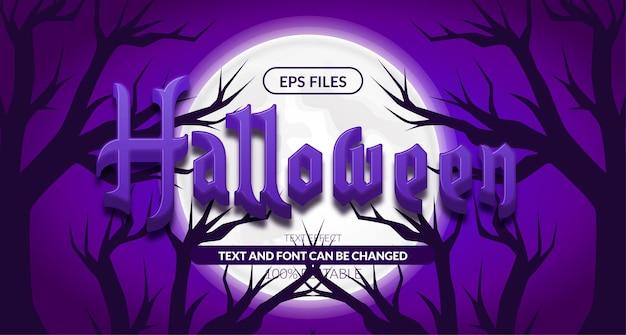 3d straszny fioletowy efekt tekstowy halloween. plik wektorowy eps. plakat baner krajobraz noc horroru