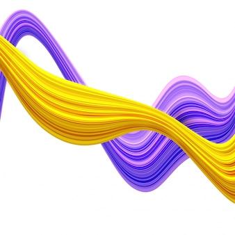 3d streszczenie fale w kolorach fioletowym i żółtym.