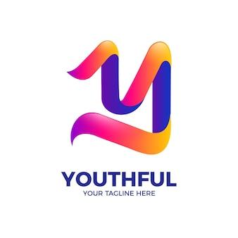 3d streszczenie list y wstążka kolor gradientu logo szablon