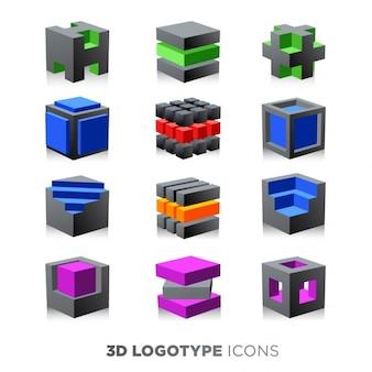 3d streszczenie zestaw kostka logotyp