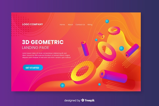 3d strona docelowa kształty geometryczne