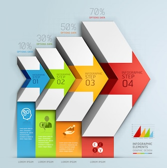 3d strzałka schody diagram biznes opcje krok.