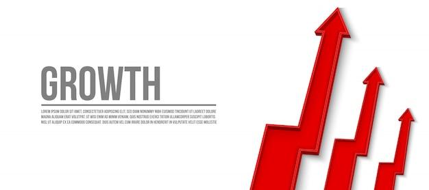 3d strzałka wzrostu finansowego, grafika szablon banner rosną