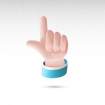 3d strzelanie kciukiem na białym przezroczystym tle darmowych wektorów
