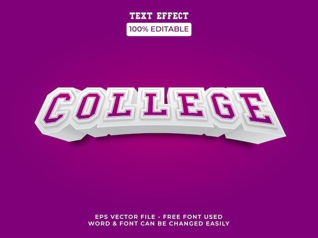 3d styl efektu tekstowego uczelni edytowalny motyw sportowy z efektem tekstowym
