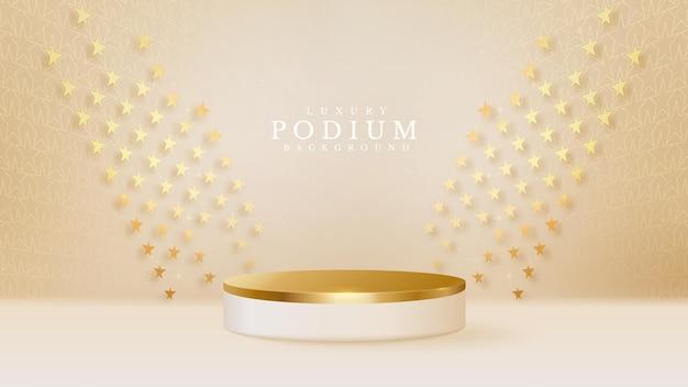 3d styl podium złoty luksus na tle kształtu gwiazdy, ilustracji wektorowych do promowania sprzedaży i marketingu.