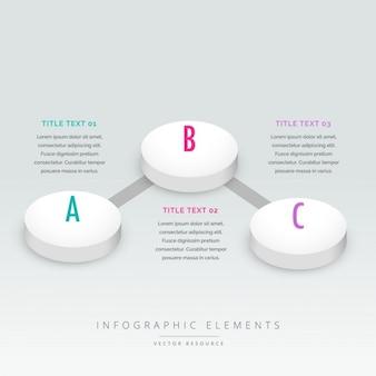 3d styl trzy kroki infografika szablon