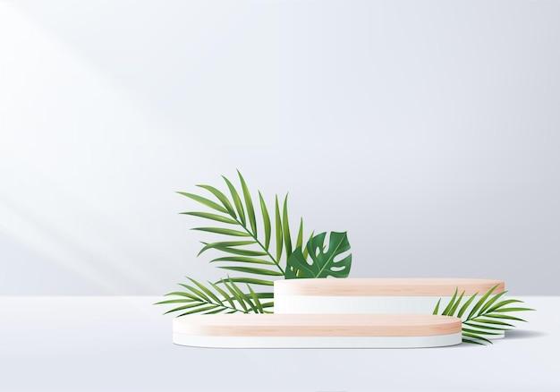 3d szare tło wyświetlacz produktu drewniane podium z geometryczną platformą liści.