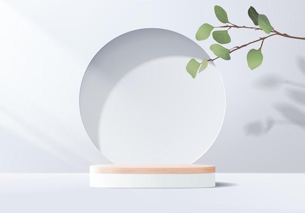 3d szare tło wyświetlacz produktu scena podium z geometryczną platformą liści.