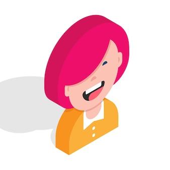 3d szczęśliwa dziewczyna avatar izometryczny portret postaci ilustracja wektorowa młodej damy