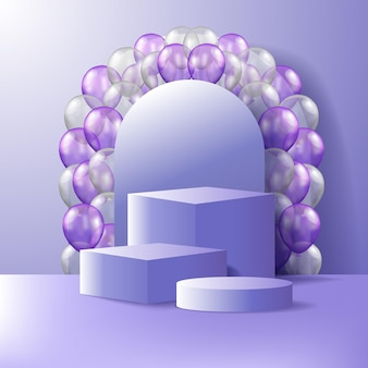 3d sześcian i cylinder wyświetlacz produktu na podium na scenie z fioletowym balonem 3d