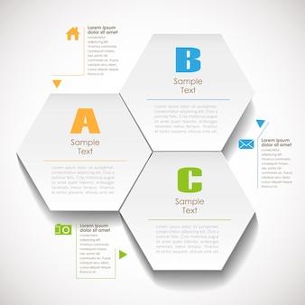 3d sześciokątna infografika papierowa