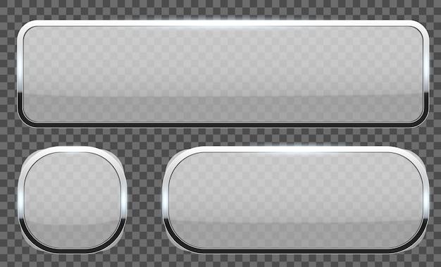 3d szklane przyciski z chromowaną ramą.