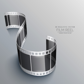 3d taśmy filmowej na szarym tle projektu