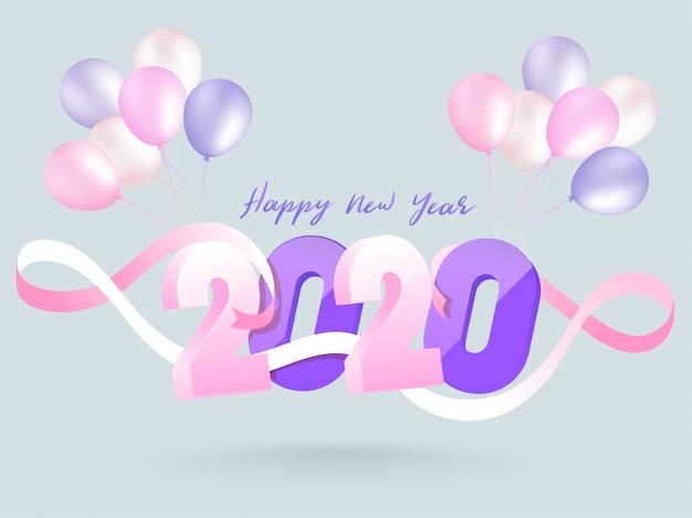 3d tekst 2020 ozdobiony różową wstążką i kilka balonów na szarym tle dla karty z pozdrowieniami uroczystości szczęśliwego nowego roku