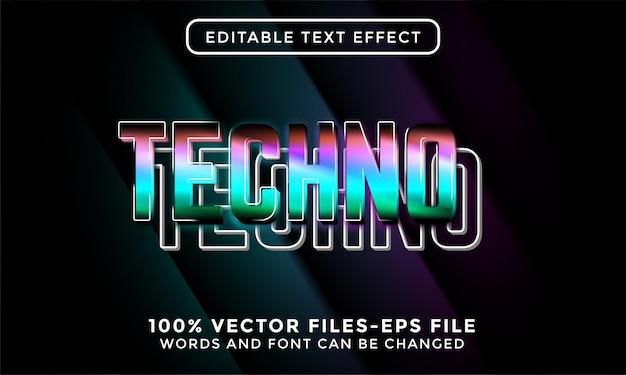 3d tekst techno. edytowalny wektor premium z efektem tekstowym