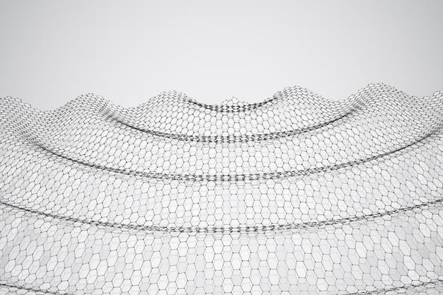 3d tło fala punktów taniec geometryczny sześciokątna futurystyczna siatka