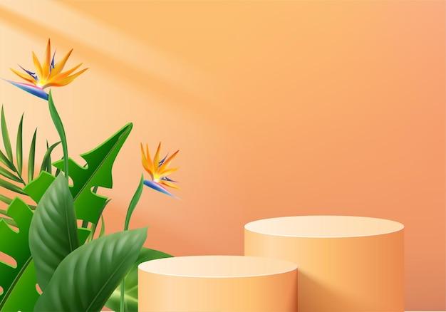 3d tło produkty wyświetlają scenę podium z geometryczną platformą zielonego liścia