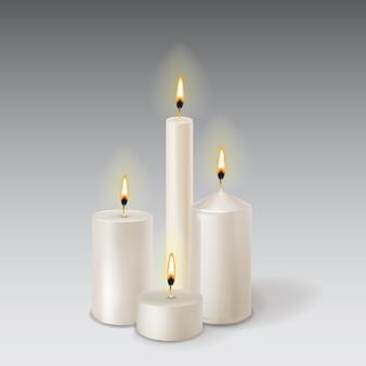 3d ustawić realistyczne świece parafinowe na przezroczystym tle.