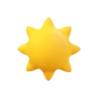 3d wektor realistyczne ilustracja słońce. letni obiekt słoneczny na białym tle. minimalna kreskówkowa pogoda w świetle słonecznym renderuje scenę