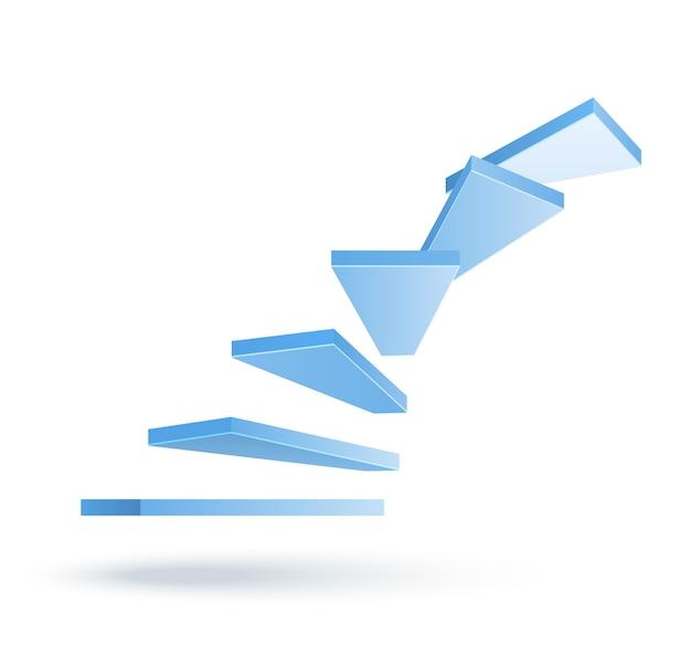 3d wektor wchodzenie po schodach na białym tle