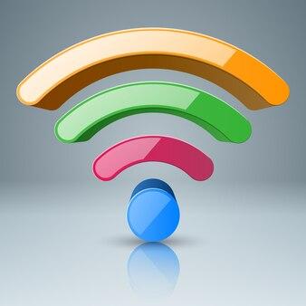 3d wi-fi ikona foou kolor.