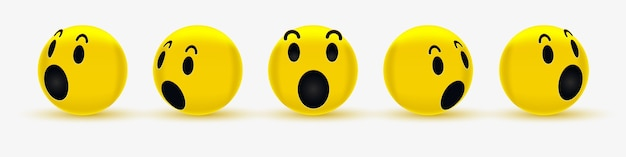 3d wow emoticon face design for social network - wondering smiley - zaskoczony emoji, zszokowany emotikon