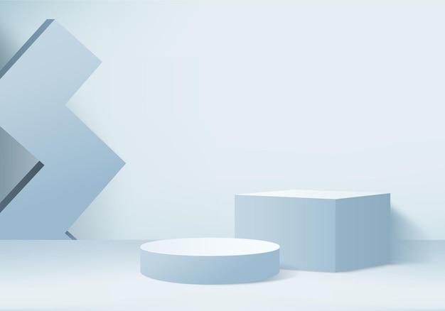 3d wyświetlacz produkt abstrakcyjna minimalna scena z geometrycznym podium platformy cylindra tło renderowania 3d ze stojakiem na podium, prezentacja sceniczna na cokole 3d niebieskie studio