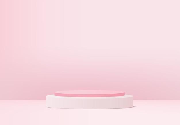 3d wyświetlacz produktu abstrakcyjna minimalna scena z geometryczną platformą podium. cylinder tło renderowania 3d z podium. prezentacja sceniczna na cokole 3d różowym studio