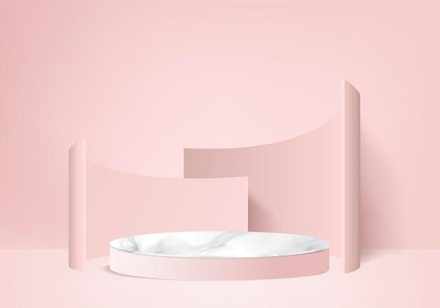 3d wyświetlacz produktu abstrakcyjna minimalna scena z geometryczną platformą podium. cylinder tło renderowania 3d z podium. stoisko dla produktów kosmetycznych. prezentacja sceniczna na cokole 3d różowym studio
