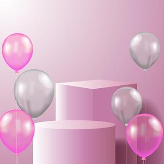 3d wyświetlacz produktu na cokole i sześcianie z podium z latającym helem w pastelowym różowym kolorze