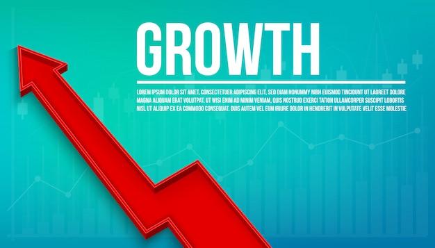 3d wzrost finansowy strzałka, grafika rośnie tło