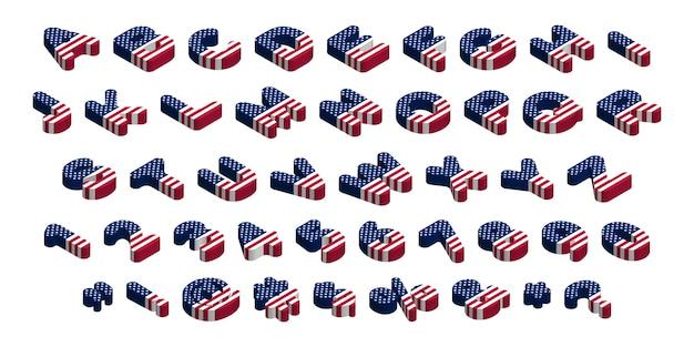 3d zaokrąglona izometryczny usa flag czcionka, litery, cyfry, symbole i znaki, czas ilustracji clipart