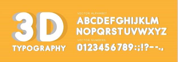 3d zaokrąglone wektor zestaw liter i cyfr. alfabet łaciński styl duży nagłówek. biała obszerna czcionka wektorowa. abc z cieniami. szablon monogramu i plakatu. projektowanie typografii
