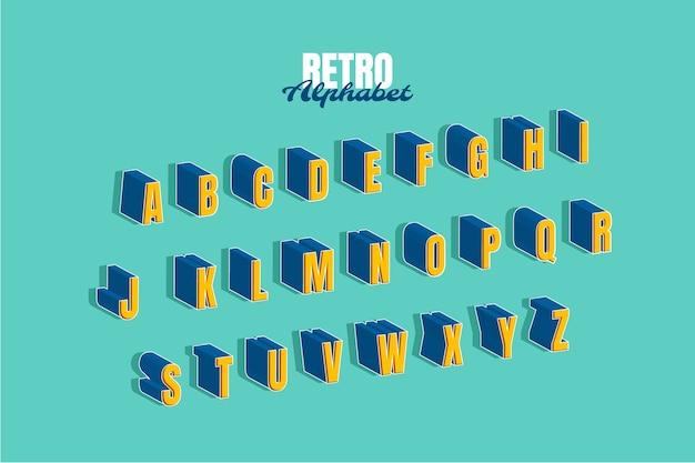3d zestaw alfabetu retro