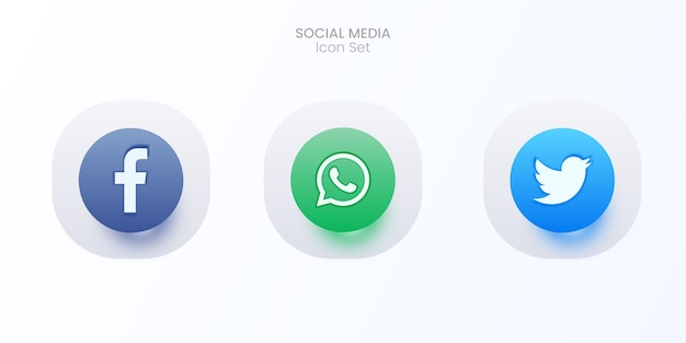 3d zestaw ikon mediów społecznościowych