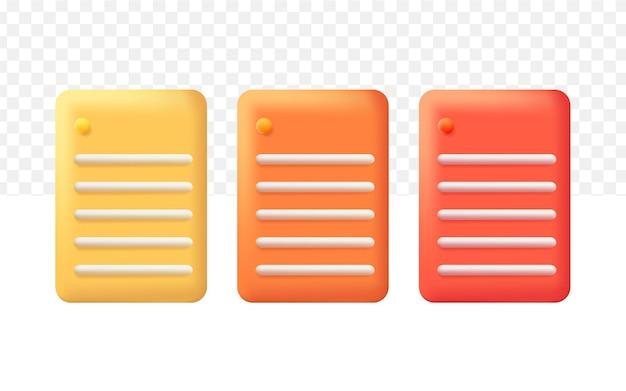 3d zestaw ikon notatki stylu cartoon na przezroczystym tle