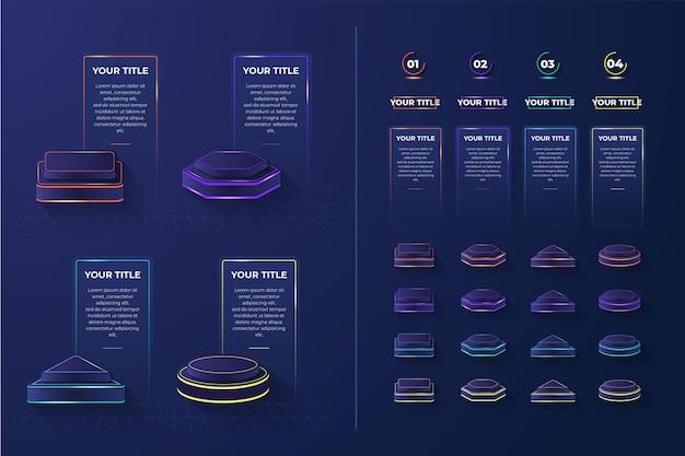 3d zestaw lekkiego podium infografika element z 4 kształtami i kolorami
