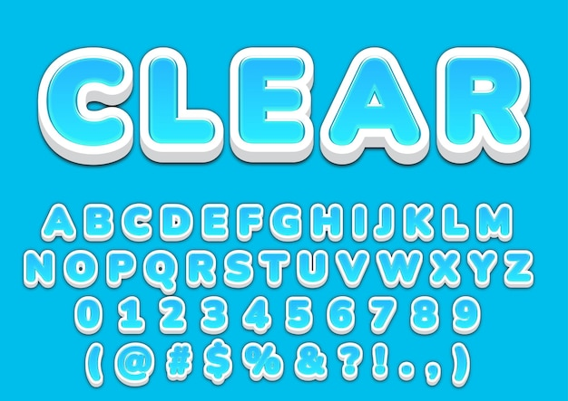 3d zestaw liczb niebieskich bąbelków